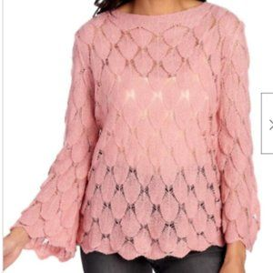 Delicate Knit Pink Sweater sz S-M bell sleeve